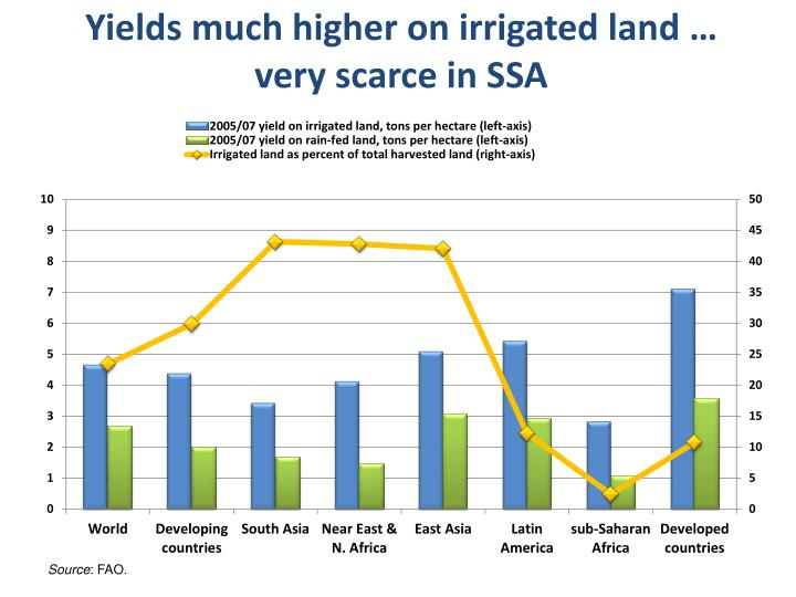 Yields much higher on irrigated land … very scarce in SSA
