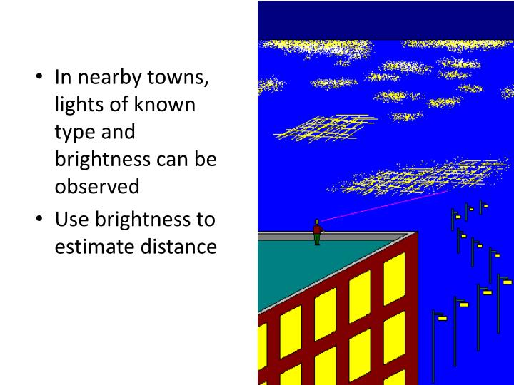 In nearby towns, lights of known type and brightness can be observed