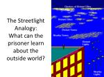 the streetlight analogy what can the prisoner learn about the outside world