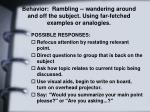 behavior rambling wandering around and off the subject using far fetched examples or analogies
