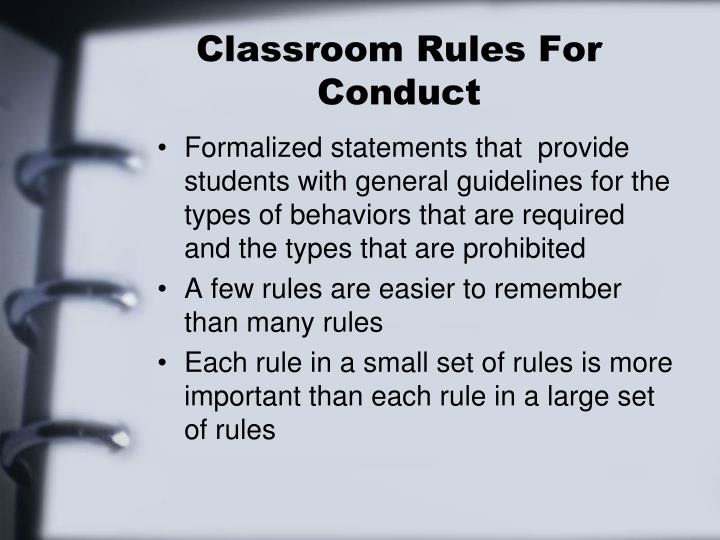 Classroom Rules For Conduct