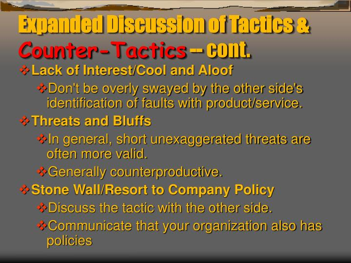 Expanded Discussion of Tactics &