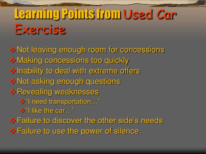 Learning points from used car exercise