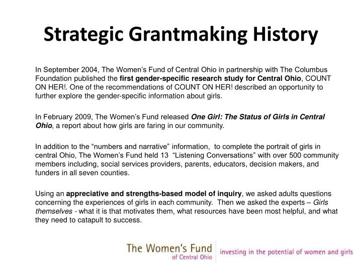 Strategic grantmaking history
