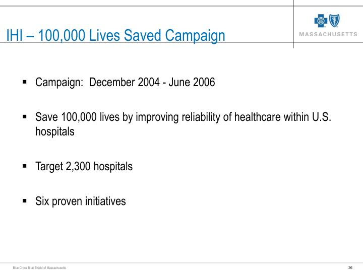 IHI – 100,000 Lives Saved Campaign