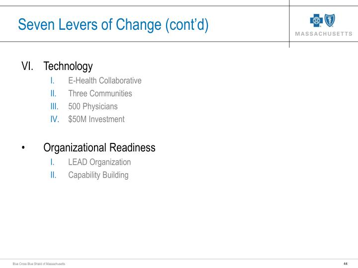 Seven Levers of Change (cont'd)