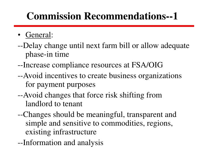 Commission Recommendations--1