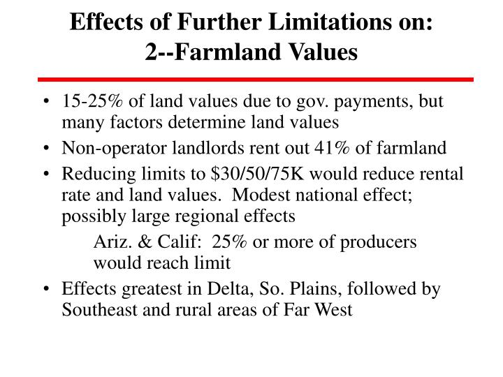 Effects of Further Limitations on: