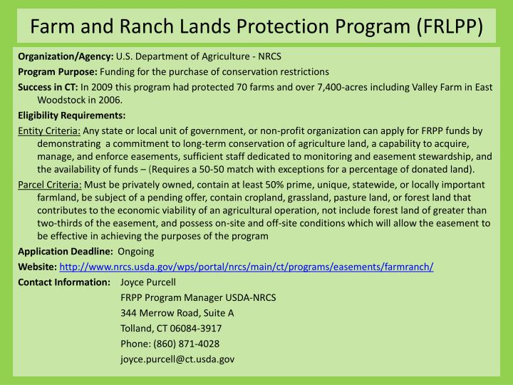 Farm and ranch lands protection program frlpp