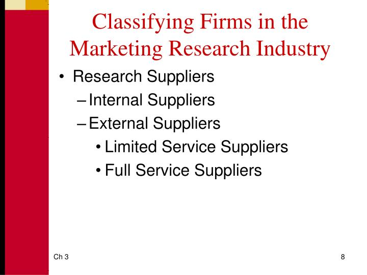 Classifying Firms in the Marketing Research Industry
