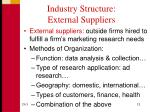 industry structure external suppliers