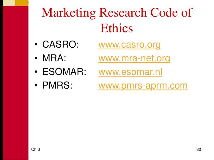 Marketing Research Code of Ethics