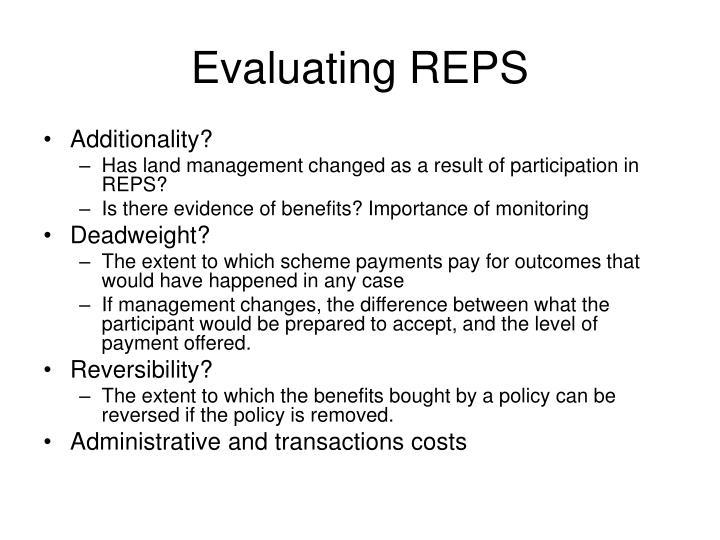 Evaluating REPS