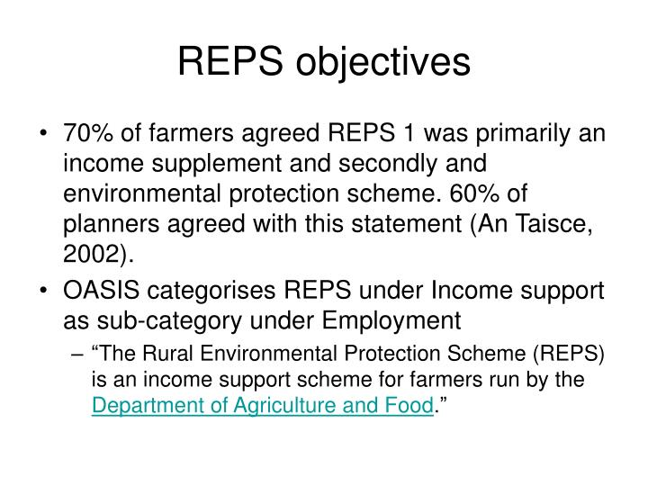 REPS objectives