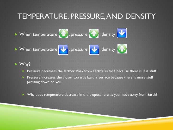 Temperature, pressure, and density