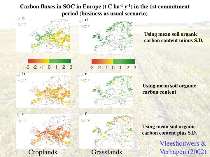 Carbon fluxes in SOC in Europe (t C ha