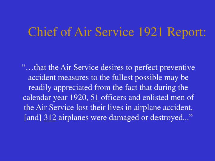 Chief of Air Service 1921 Report: