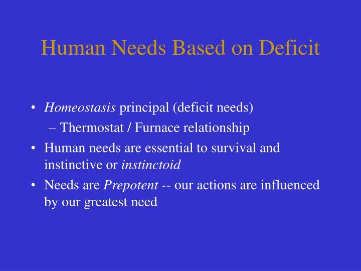 Human Needs Based on Deficit