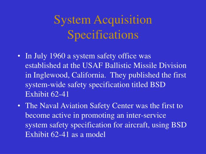 System Acquisition Specifications