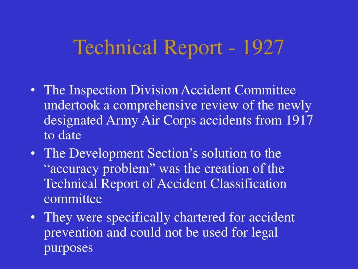 Technical Report - 1927