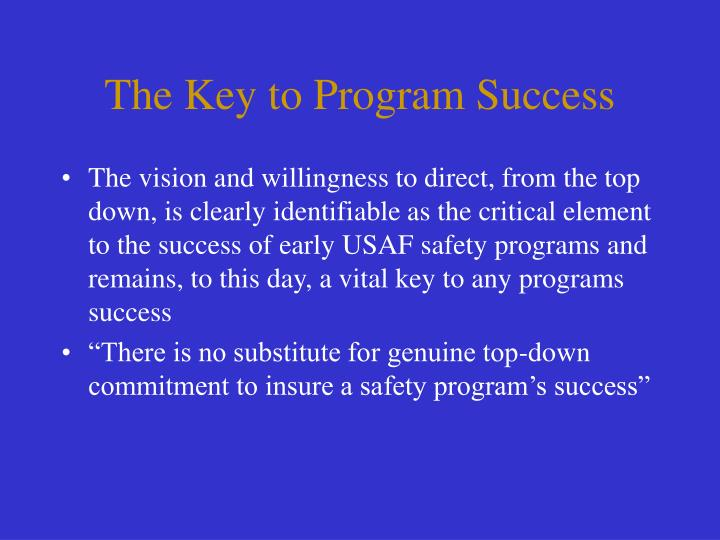 The Key to Program Success
