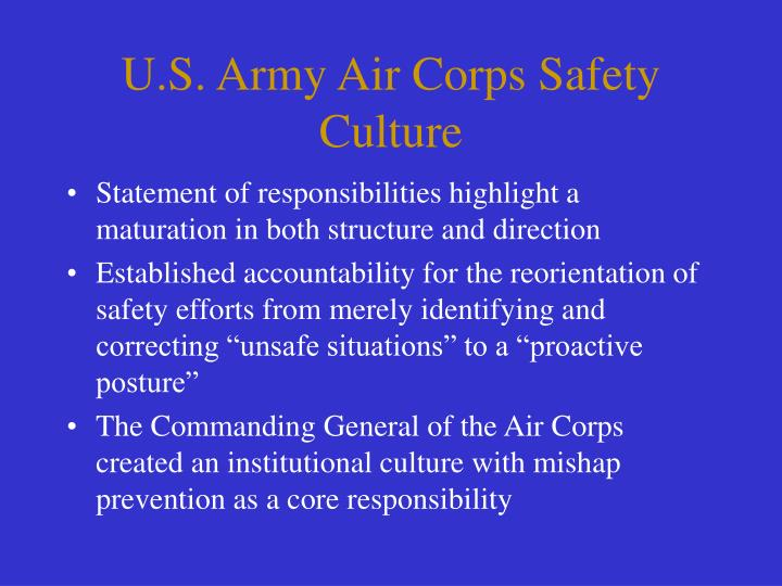 U.S. Army Air Corps Safety Culture