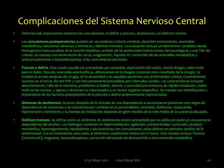 Complicaciones del Sistema Nervioso Central
