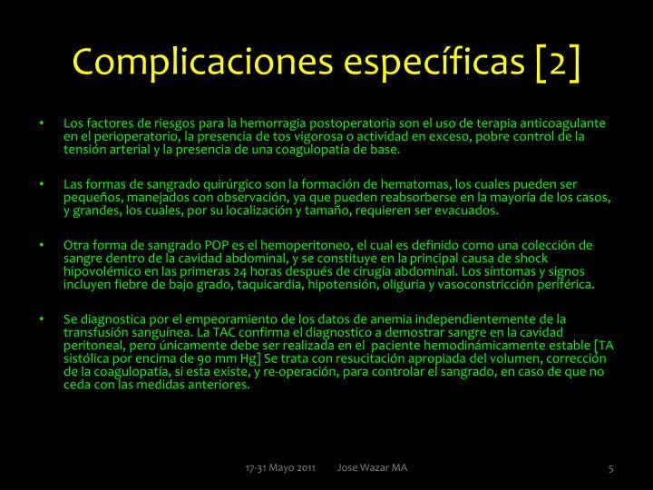 Complicaciones específicas [2]