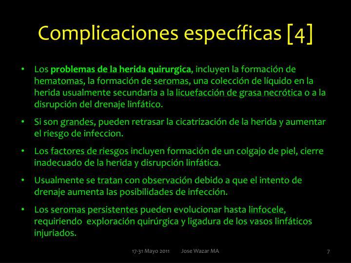 Complicaciones específicas [4]
