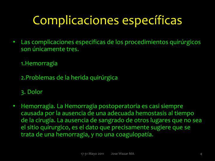 Complicaciones específicas