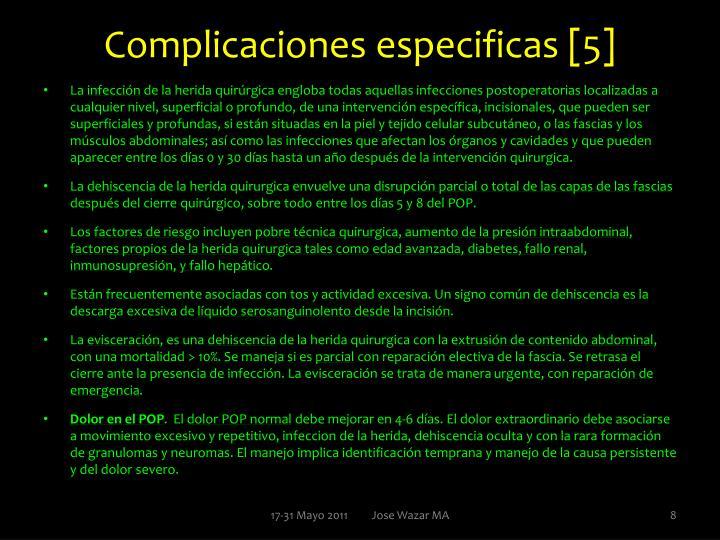 Complicaciones especificas [5]