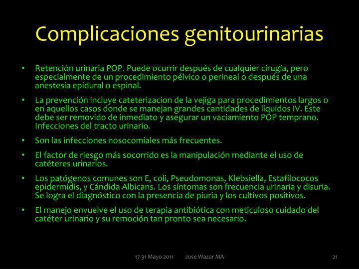 Complicaciones genitourinarias