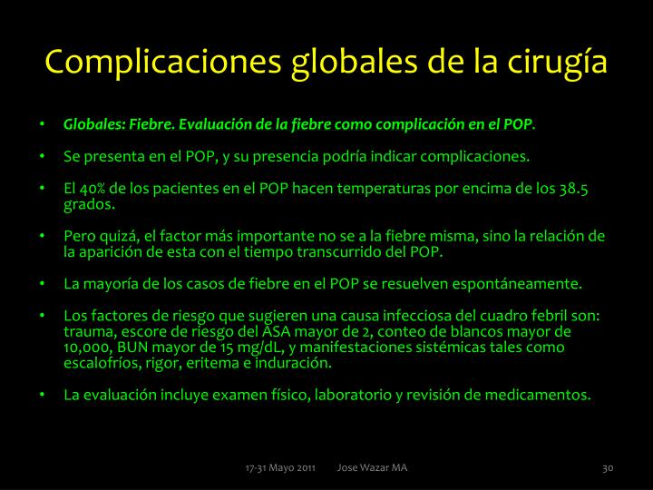 Complicaciones globales de la cirugía