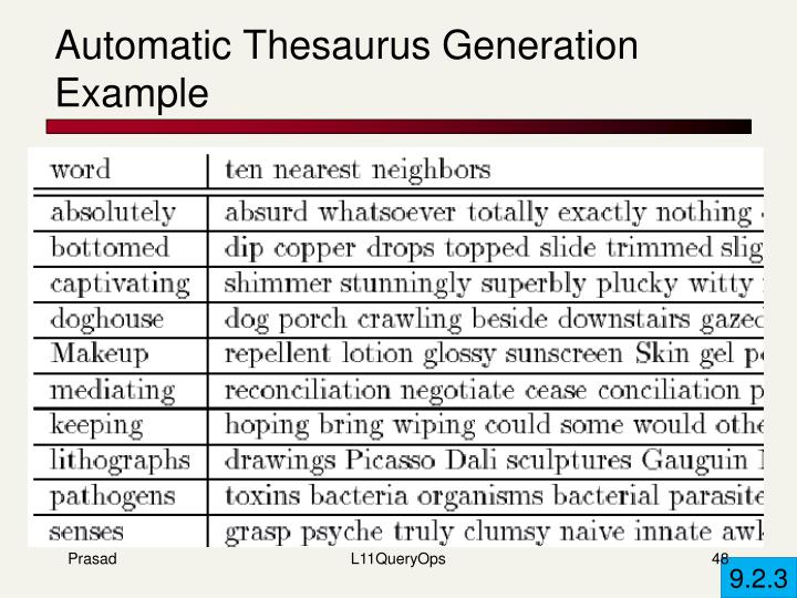 Automatic Thesaurus Generation