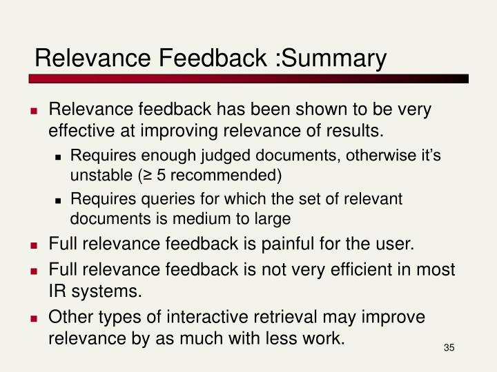 Relevance Feedback :Summary