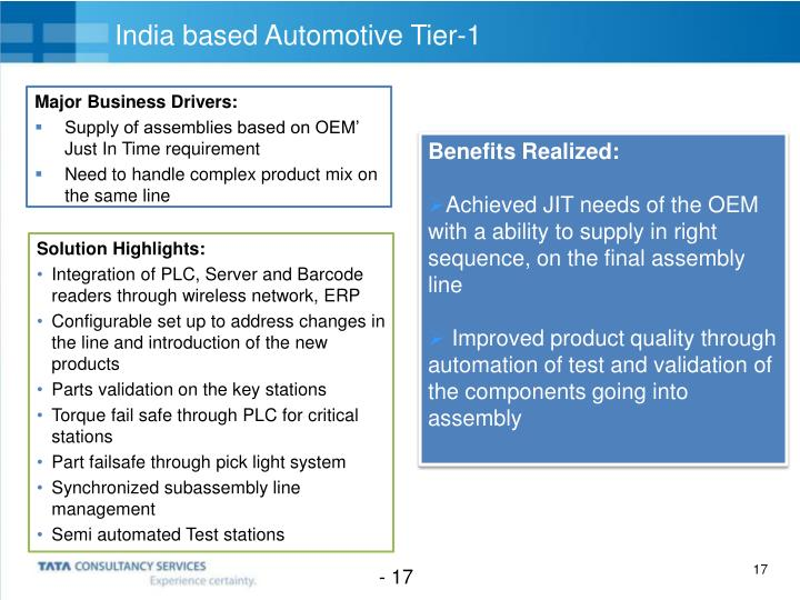 India based Automotive Tier-1