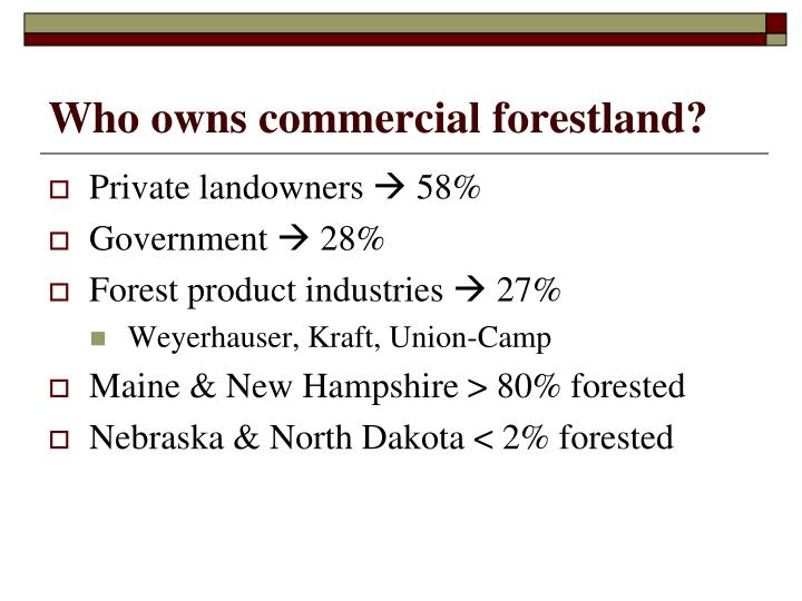 Who owns commercial forestland?