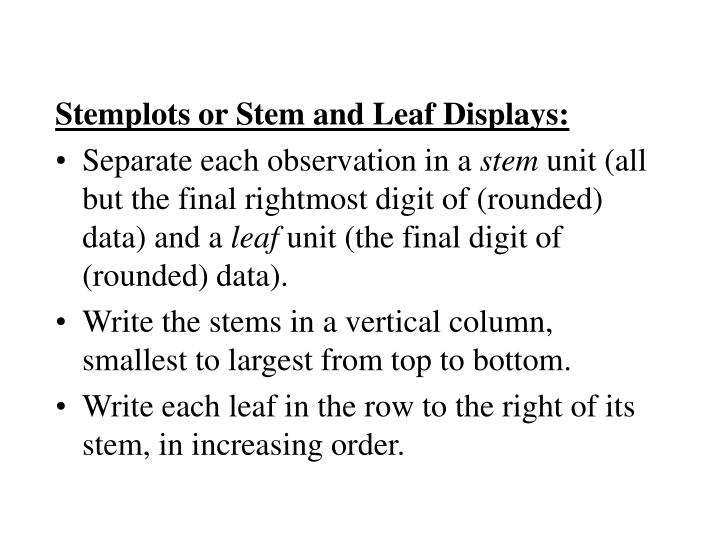 Stemplots or Stem and Leaf Displays: