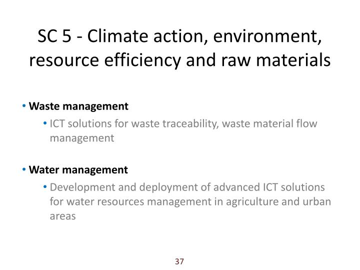 SC 5 - Climate action, environment, resource efficiency and raw materials