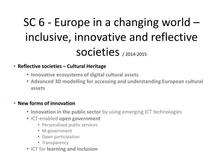 SC 6 - Europe in a changing world – inclusive, innovative and reflective societies