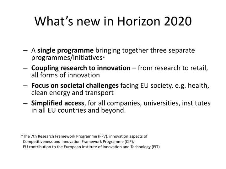 What's new in Horizon 2020