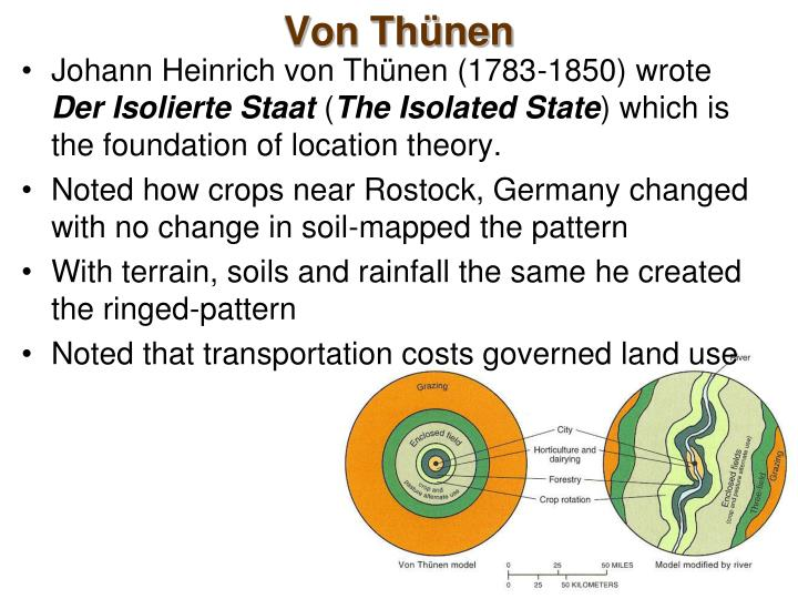 application of von thunen model in Topic: the von thunen model  across land, directly to central city (therefore no roads) farmers act to maximize profits application of von thunen model: geographer .