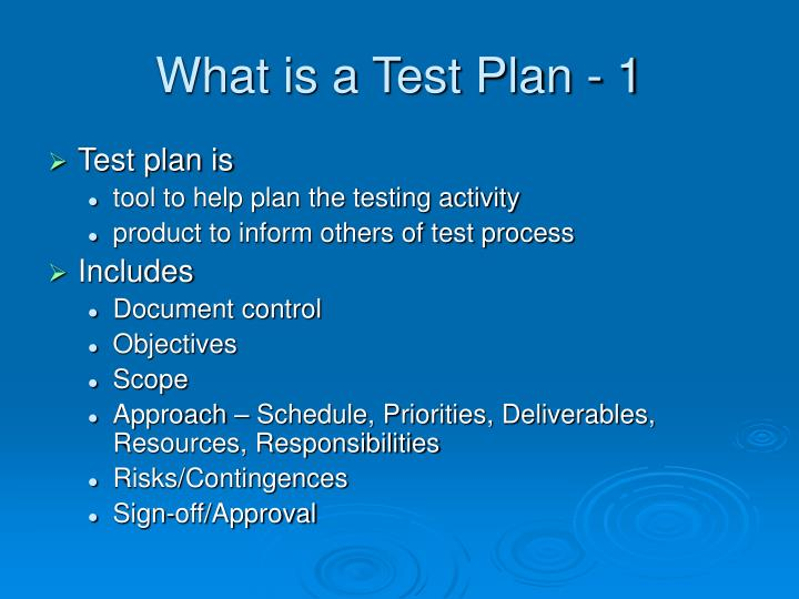 What is a Test Plan - 1