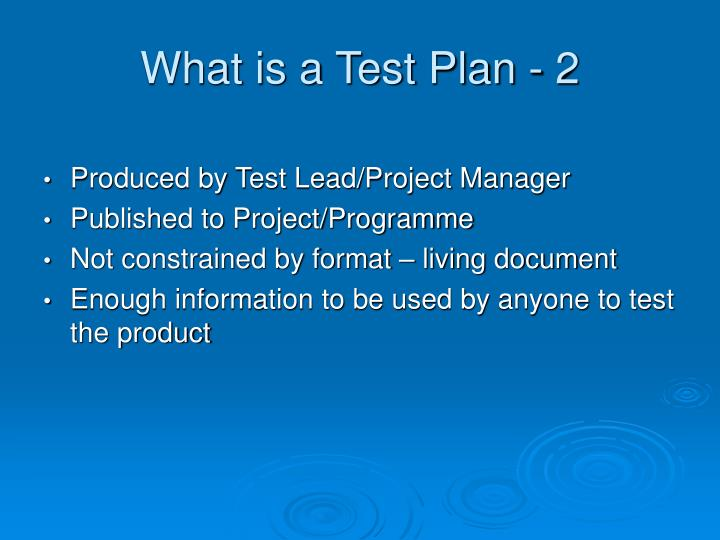What is a Test Plan - 2