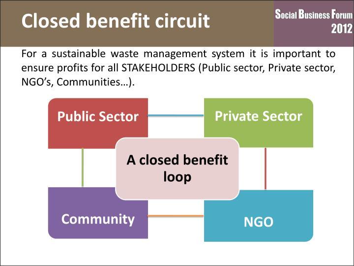 Closed benefit circuit