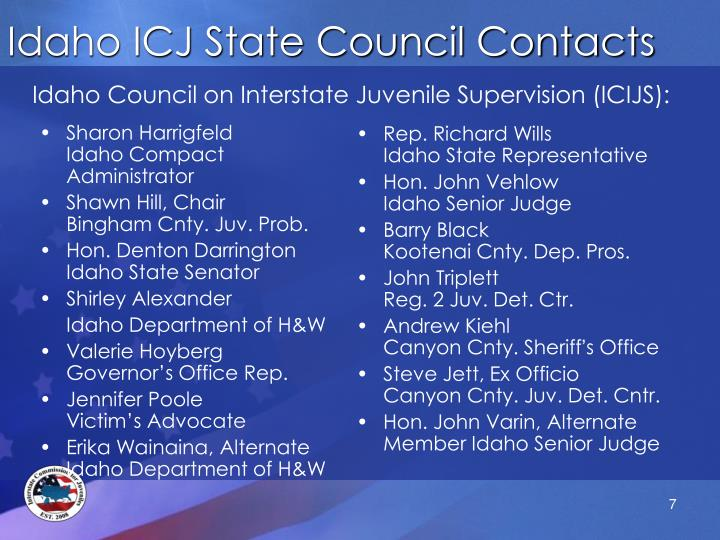 Idaho ICJ State Council Contacts