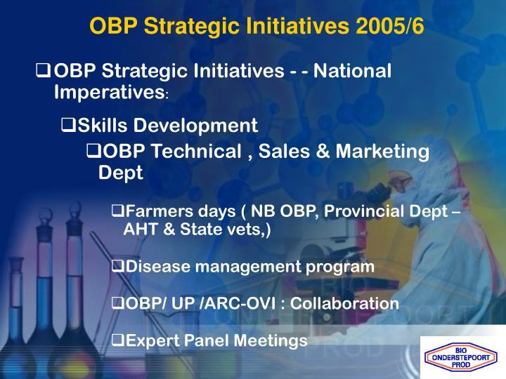 OBP Strategic Initiatives 2005/6