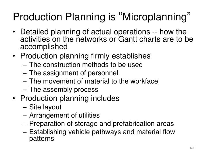 Production planning is microplanning