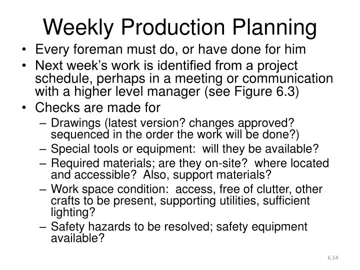Weekly Production Planning