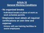 article 16 general working conditions